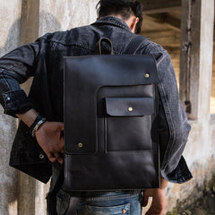 Black Leather Men's 13 inches Large Work Computer Backpack Black Large Travel Backpack Black Large College Backpack For Men