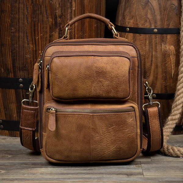 Brown Casual Leather 10 inches Vertical Side Bags Messenger Bag Courier Bag for Men