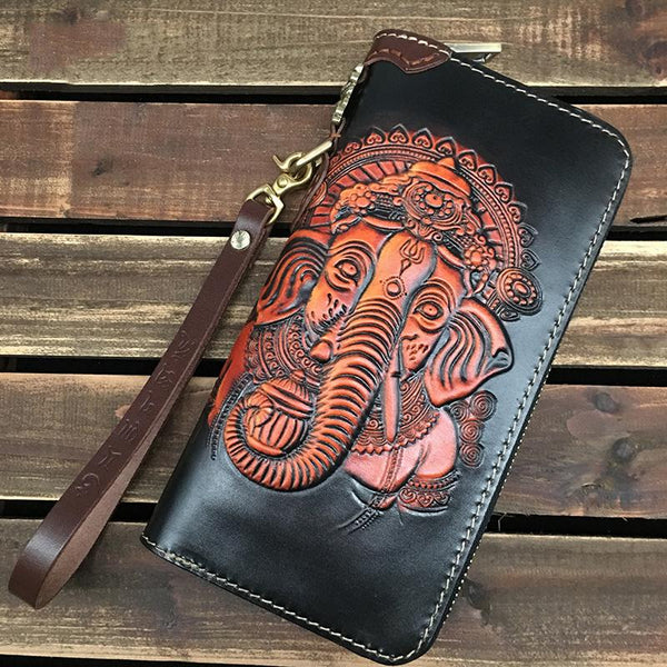Black Handmade Tooled Ganasha Leather Long Biker Wallet Chain Wallet Clutch Wallet For Men