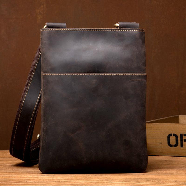 Cool Brown Leather 8 inches Mens Small Vertical Messenger Bags Brown Courier Bag for Men