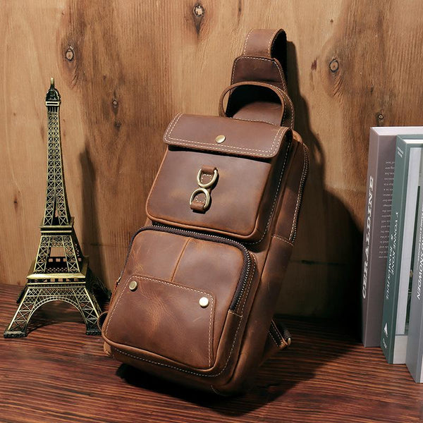 Brown Leather Men's Sling Bag Brown Sling Pack Chest Bags One Shoulder Backpack For Men