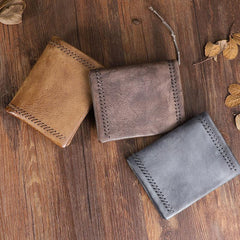 Handmade Leather Mens Vertical Gray billfold Wallet Men Brown Small Bifold Wallets for Men