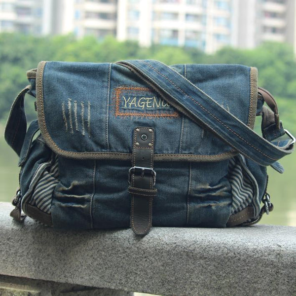 Blue Denim Mens Fashion Messenger Bags Large Jean Blue Postman Bags Courier Bag For Men