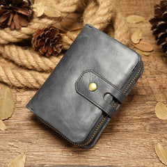 Cool Brown Leather Men's Black billfold Small Wallet Black Bifold Wallet For Men
