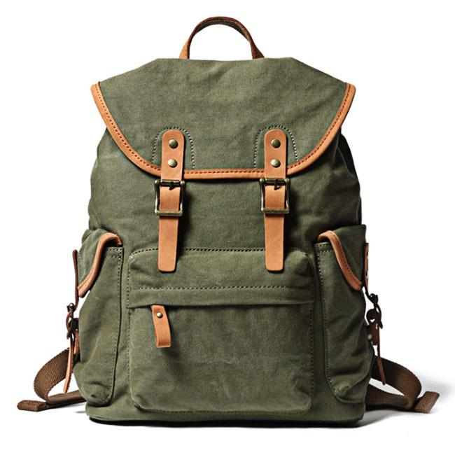 Khaki Retro Canvas Mens Womens Travel Backpack College Backpack Green Canvas School Backpack For Men