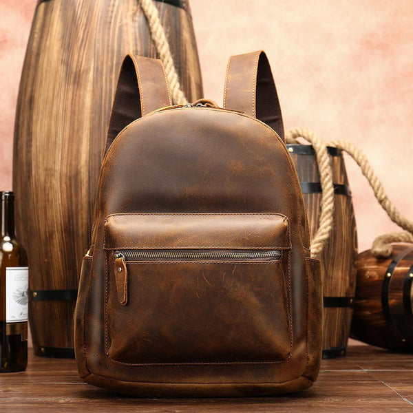 Brown Leather Men's 13 inches Large Computer Backpack Large Brown Travel Backpack Brown Large College Backpack For Men