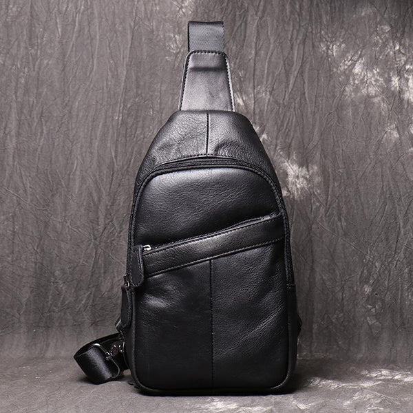 Cool Black Leather Sling Backpack Men's Brown Sling Bag Sling Pack One shoulder Backpack For Men