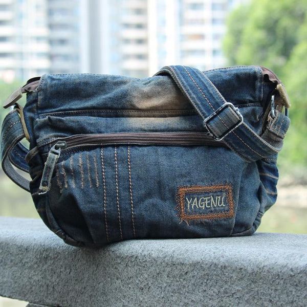 Blue Denim Mens Casual Messenger Bag Jean Side Bag Postman Bags Courier Bag For Men