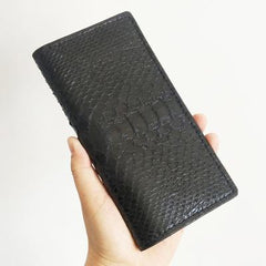 Handmade Cool Mens Black Snake Skin Long Wallet Yellow Slim Bifold Long Wallets For Men