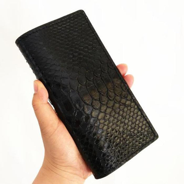 [On Sale] Handmade Vintage Mens Snake Skin Long Wallets Bifold Long Wallet for Men