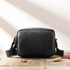 Black Cool Leather Mens Courier Bag Postman Bag Black Messenger Bags Side Bag for Men