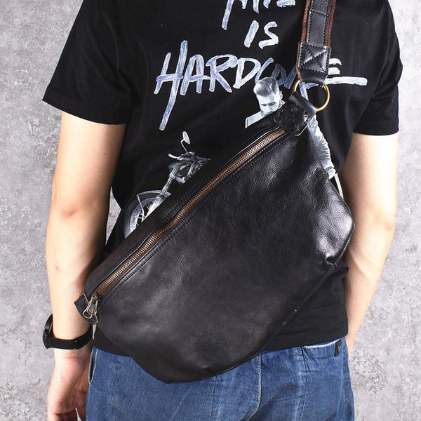 Black Leather Mens Large Sling Bag Leather Sling Pack Postman Bag Fanny Pack Shoulder Bag For Men