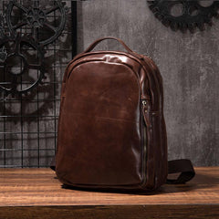Cool Mens Leather School Backpack Satchel Backpacks Leather Travel Backpack for Men