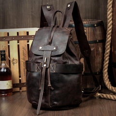Light Brown Casual Mens Leather 15-inch Computer Backpack Dark Brown Travel Backpacks School Backpacks for men