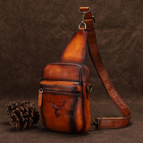 Vintage Brown Leather Deer Womens Men's Sling Bag Chest Bag Sling Pack Sling Backpack For Men