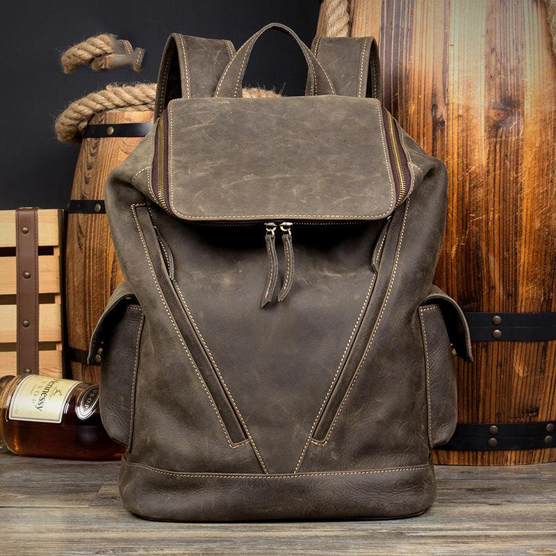 Casual Black Mens Leather 14-inch Large Computer Backpacks Brown College Backpack School Backpacks for men