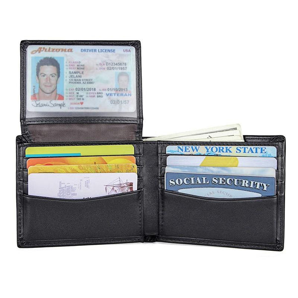 Black Leather Billfold Wallet for Men Black Bifold Wallet Coffee Leather Small Wallet For Men