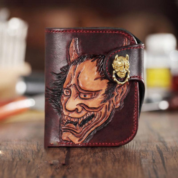 Brown Handmade Tooled Hannya Leather Mens Small Bifold Biker Wallet billfold Wallet For Men