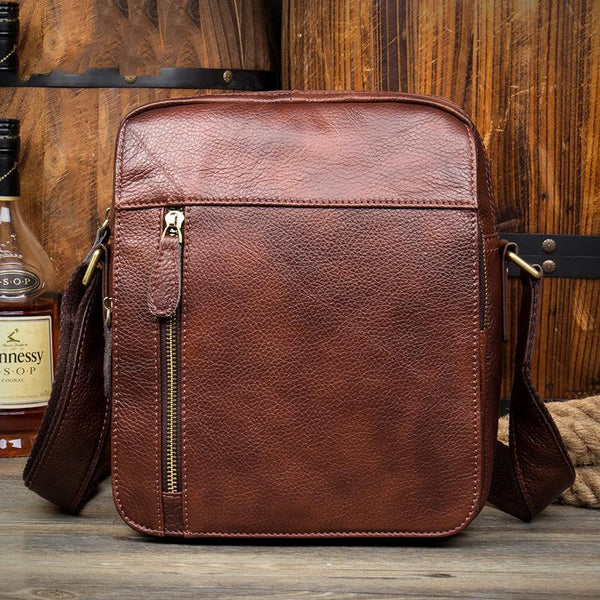 Casual Brown Leather Courier Bag 10 inches Vertical Small Messenger Bags Postman Bag for Men