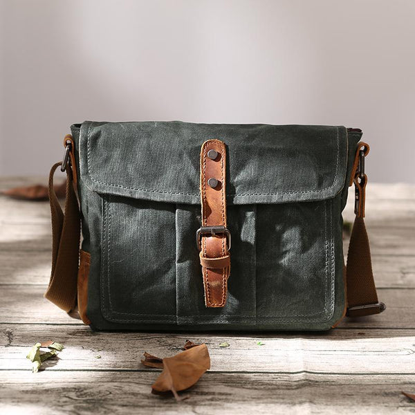 Small Waxed Canvas Mens Waterproof Green Side Bag Courier Bag Messenger Bag for Men