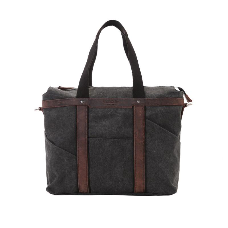 Fashion Canvas Leather Mens Black Briefcase Computer Bag Work Bag Handbag For Men