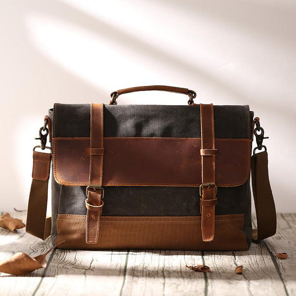 Canvas Leather Mens Side Bag Gray 14'' Briefcase Postman Bag Messenger Bag for Men
