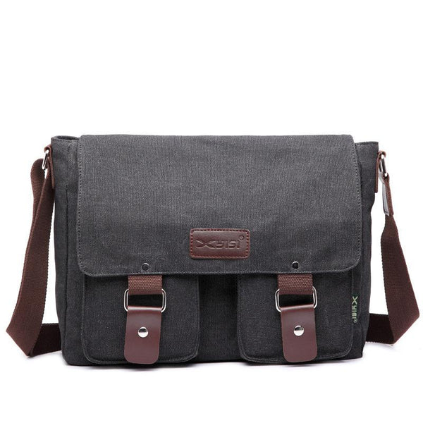 Cool Canvas Leather Mens Black Side Bag Blue Shoulder Bag Red College Bag Messenger Bag for Men