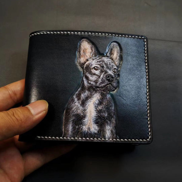 Handmade Mens Leather billfold Wallet Bulldog Dog Tooled Leather Bifold Wallet Slim Wallet for Men