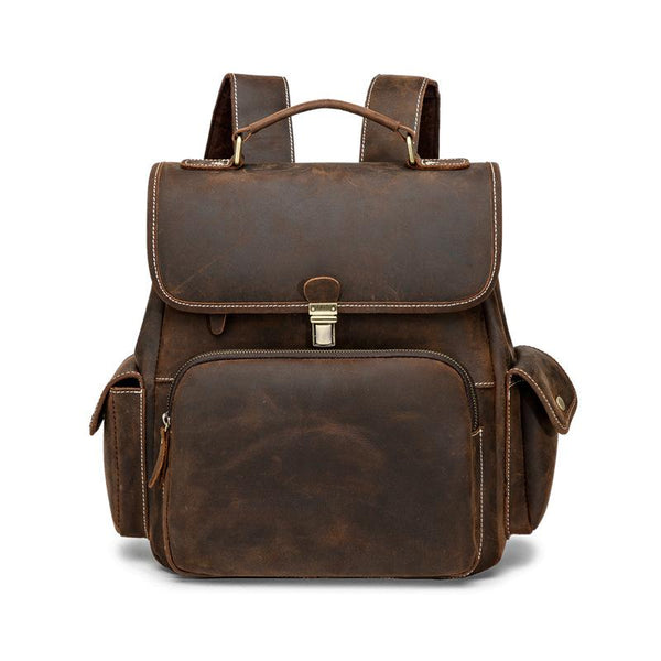Cool Dark Brown Mens Leather College Backpack Laptop Backpack Red Brown Travel Backpack for Men