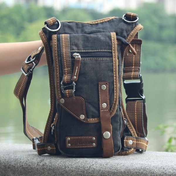 Black Denim Mens Casual Small Belt Bag Fanny Pack Messenger Bag Green Jean Waist Bag DropLeg Bags For Men