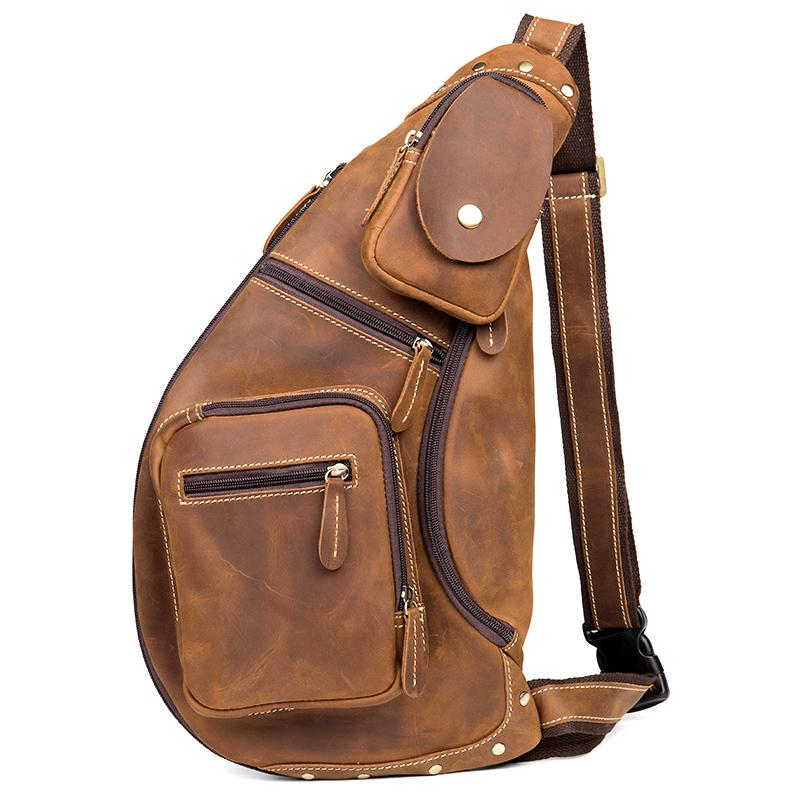 Brown Leather Mens Cool Large Sling Bags Light Brown Crossbody Pack Chest Bag for Men