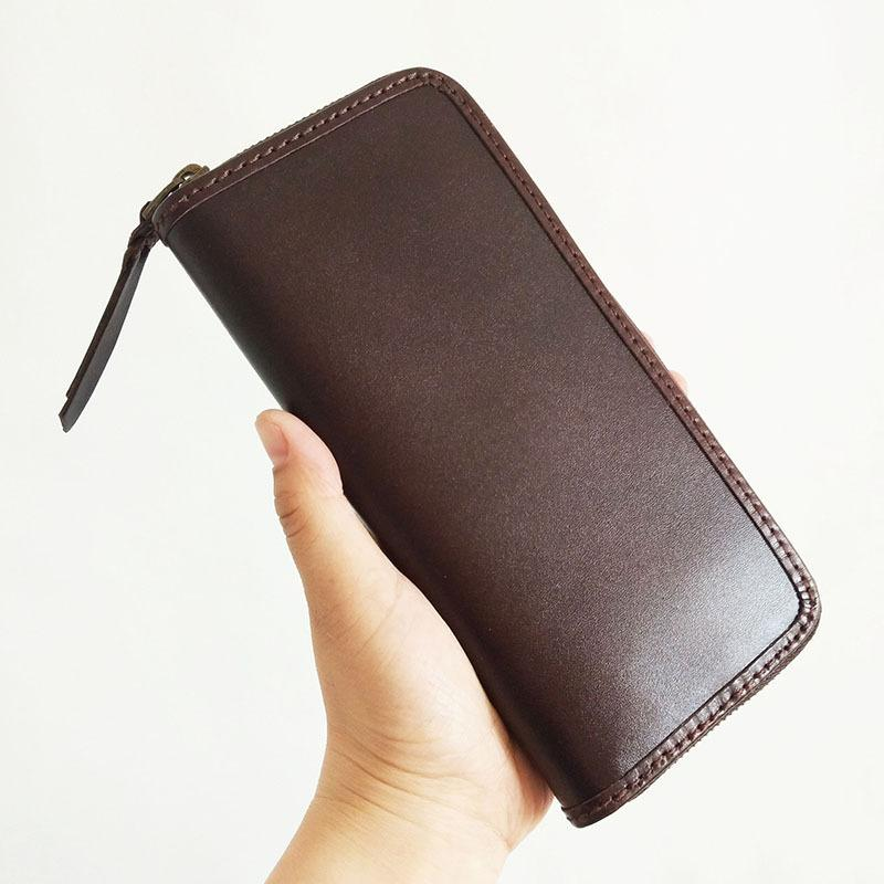 Black Handmade Vintage Mens Zipper Coffee Large Bifold Leather Long Wallet Cool Long Wallet for Men