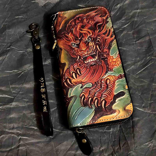 Badass Black Leather Men's Long Biker Handmade Wallet God Beast Tooled Zipper Long Chain Wallets For Men