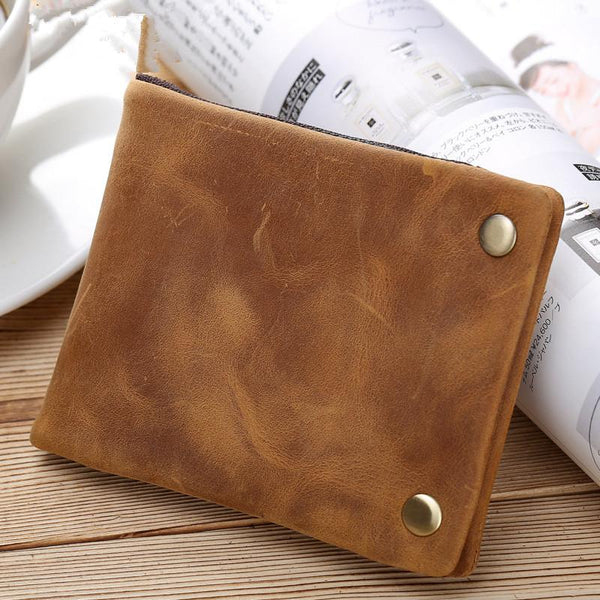 Dark Brown Small MENS LEATHER Brown Trifold Wallet SLIM billfold Brown Wallet FOR MEN