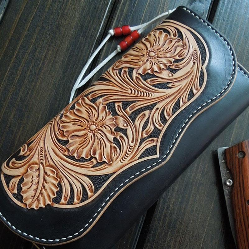 Handmade Leather Mens Clutch Tooled Floral Wallet Cool Wallet Long Wallets Biker Chain Wallet for Women Men