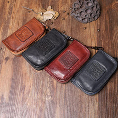 Handmade Leather Mens Small Brown Key Wallet Key Holder Black Car Key Case for Men