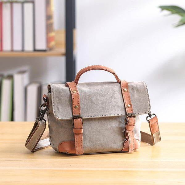 Canvas Leather Mens Womens Small Side Bag Green Courier Bag Messenger Bag for Men