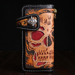 Handmade Leather Skull Mens Chain Biker Wallet Cool Leather Wallet Long Tooled Wallets for Men