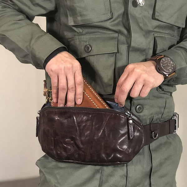 Black Cool Leather Men Fanny Pack Waist Bags Hip Pack Coffee Chest Bag Belt Bag Bumbag for Men