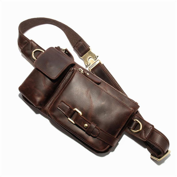 Top Leather Fanny Pack Men's Dark Brown Chest Bag Hip Bag Brown Waist Bag For Men