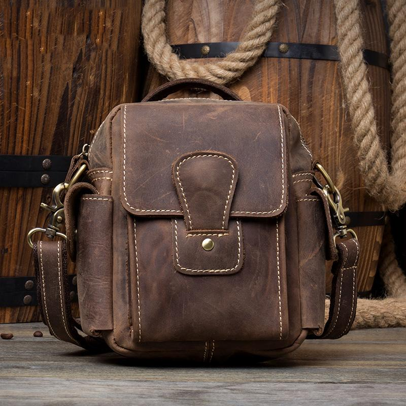Casual Brown Leather Small Side Bags Waist Bag Belt Pouch Messenger Bag Courier Bag for Men