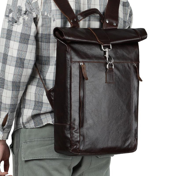 Fashion Coffee Leather Men's 15 inches Rollup Backpack Computer Backpack School Backpack For Men