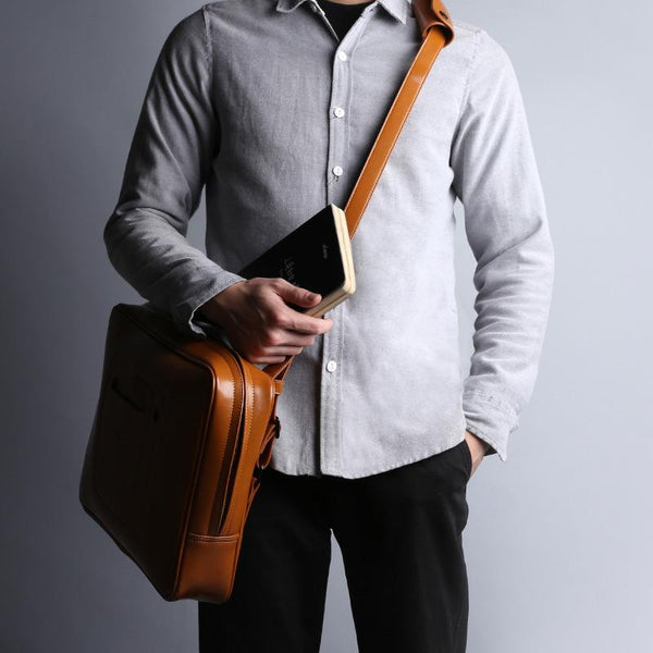 Fashion Brown PU Leather Casual Men's Messenger Bag Backpack Laptop Briefcase For Men