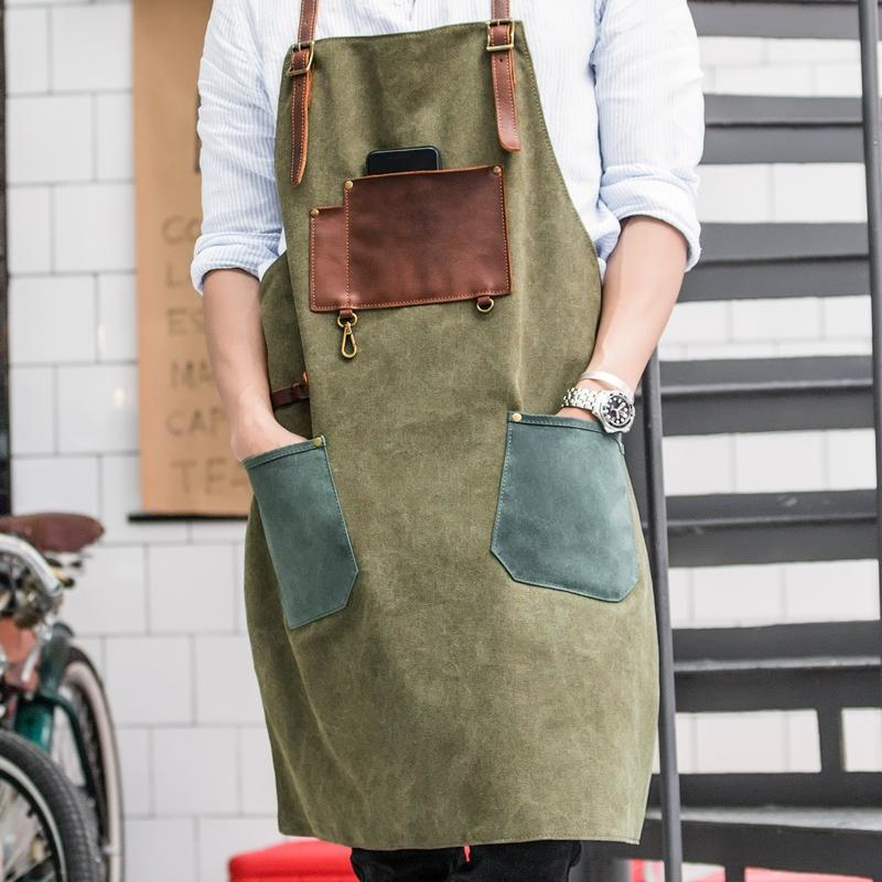 Vintage Canvas Leather Mens Womens Gray Craftsman Apron Cafe Staff Apron Work Apron for Men