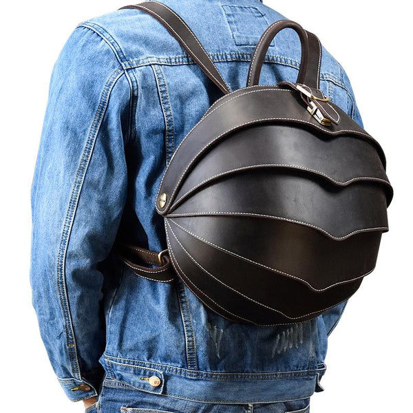 Dark Coffee Beetle Style Leather Men's Unique Backpack Hemisphere Travel Backpack College Backpack For Men