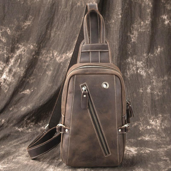 Best LEATHER MENS Sling Bags Sling Pack Vintage One Shoulder Backpack Chest Bag For Men