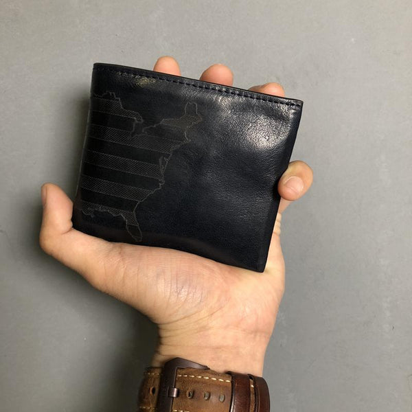 Cool Leather Mens Black Bifold billfold Wallets Small Wallet U.S. Map Wallets Front Pocket Wallet for Men