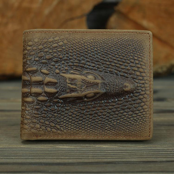 Cool Brown Crocodile Pattern Leather Bifold Small Wallet Leather Mens Brown Billfold Small Wallet Front Pocket Wallet For Men