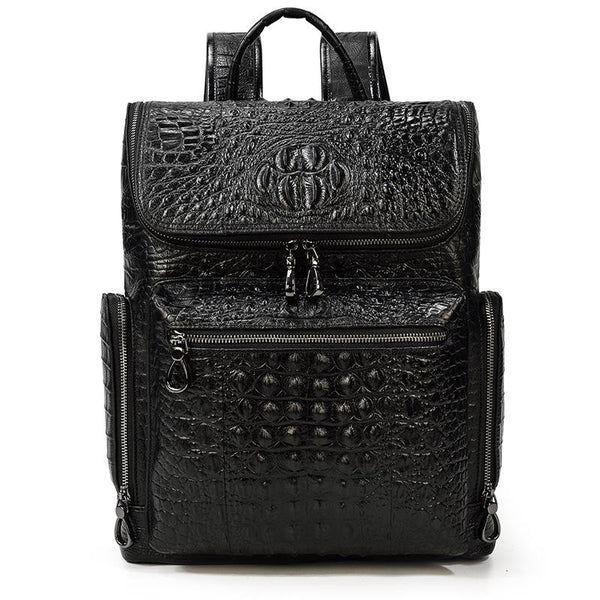 Black Crocodile Pattern Leather Men's 14 inches Computer Backpack Black Travel Backpack College Backpack For Men