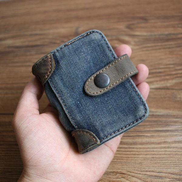 Blue Denim Mens Bifold billfold Wallet Jean Card Holder Card Wallet For Men